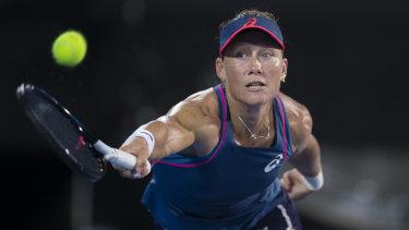 Samantha Stosur of Australia during her first round match against Dominika Cibulkova.