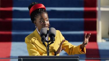 American poet Amanda Gorman recites a poem during the Inauguration of US.