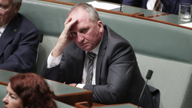 Nationals MP Barnaby Joyce during a bushfires condolence motion in Parliament last Tuesday.