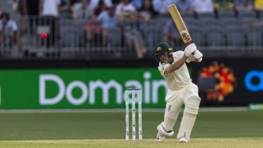 Marnus Labuschagne in action in the first Test against New Zealand at Perth's Optus Stadium back in 2019.