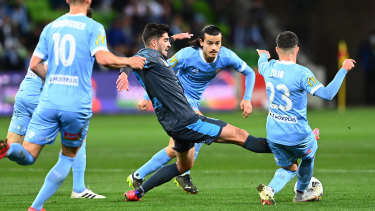 Melbourne City players swarming their opponents was the story of the evening.