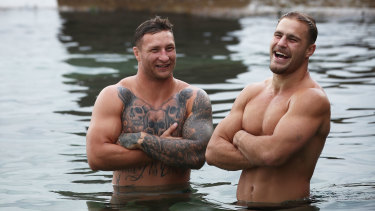 Tariq Sims (left), not Jack de Belin (right), will captain the Dragons this weekend. The pair were part of the NSW Blues set up in 2018.