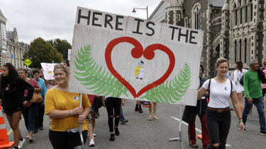 New Zealanders at a March for Love following the attacks.