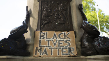 The plinth of slave trader Edward Colston in Bristol, England, after the statue was pulled down.