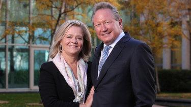 Philanthropists Andrew Forrest and his wife Nicola.