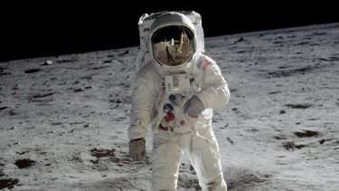 Been there: Apollo 11 astronaut Buzz Aldrin walks on the moon.