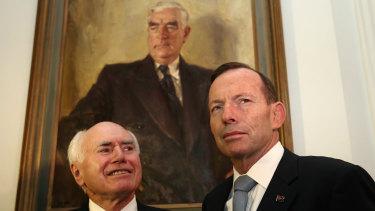 In Menzies' wake ... John Howard and Tony Abbott.