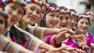 The Australian Chinese Culture exchange association dancers perform at the Multicultural festival.
