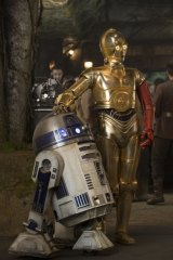 Long legacy: R2-D2 (left) and Anthony Daniels as C-3PO in <i>Star Wars: The Force Awakens</i>.