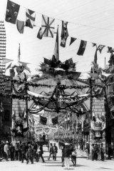 Federation celebrations in 1901 on Pitt Street, Sydney.