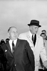 LBJ and Victorian Premier, Sir Henry Bolte, at the airport.