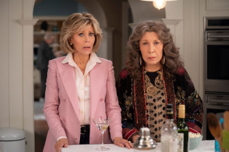 With Lily Tomlin in her current TV series, Grace and Frankie.