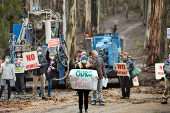 Protesters have taken to the Wombat State Forest calling for a halt to gold mine exploration.