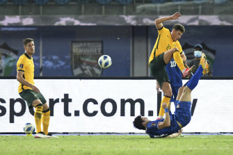 Midfielder Ajdin Hrustic, right, may be a star of the future for the Socceroos.