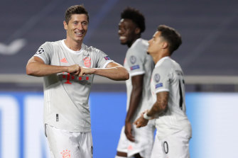 Bayern star Robert Lewandowski celebrates after the side's sixth goal.