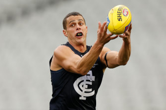 Ed Curnow in action against the Pies.