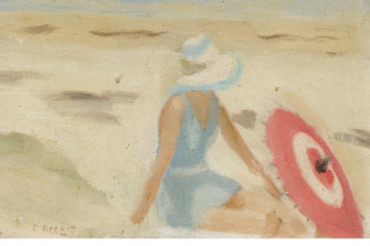 Clarice Beckett, Australia, 1887 - 1935, The red sunshade, 1932, Melbourne, oil on board; Gift of Alastair Hunter OAM and the late Tom Hunter in memory of Elizabeth through the Art Gallery of South Australia Foundation 2019, Art Gallery of South Australia, Adelaide.