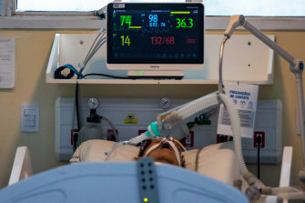 A patient infected with COVID-19 at the Ronaldo Gazolla hospital in Rio de Janeiro, Brazil. Hospitals are running out of the sedatives needed to facilitate intubation.