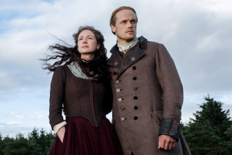 Caitriona Balfe and Sam Heughan in the epic, romantic series Outlander.