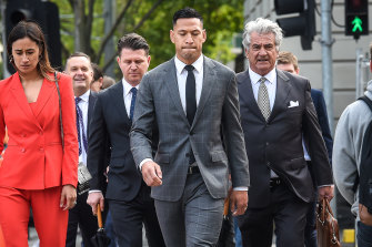 Israel Folau arriving at the Federal Circuit Court in Melbourne earlier this week.