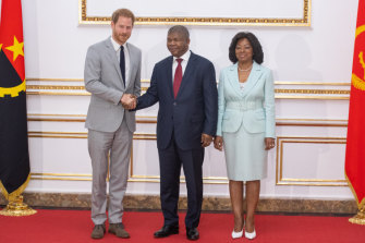 Prince Harry meets Angolan President Angola Joao Lourenco and first lady Ana Dias Lourenco at the presidential palace in Luanda.