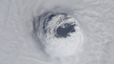 They eye of Hurricane Michael, as seen from the International Space Station on Wednesday.