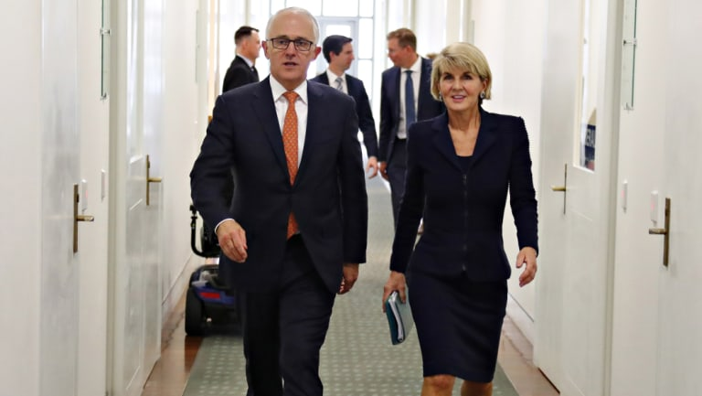 Julie Bishop and Malcolm Turnbull leave the leadership spill together on Friday.
