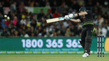 Steve Smith swats another wayward delivery away to the boundary.