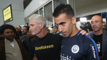 Welcome home: Craig Foster and Hakeem al-Araibi at the refugee footballer's return to Melbourne last month.