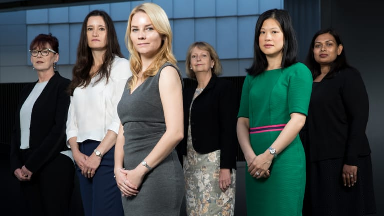 Medical student Sarah McLain, front, with surgeons and fellows of the Royal Australasian College of Surgeons, Dr Kerin Fielding,  Dr Michelle Locke, Dr Marianne Vonau, Dr Christine Lai, and Dr Pecky De Silva.