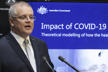Australian Prime Minister Scott Morrison during a press conference to discuss modelling on the COVID-19 coronavirus pandemic, at Parliament House in Canberra on  Tuesday 7 April 2020. fedpol Photo: Alex Ellinghausen