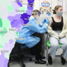 Composite of map and Georgia Meir getting vaccinated.