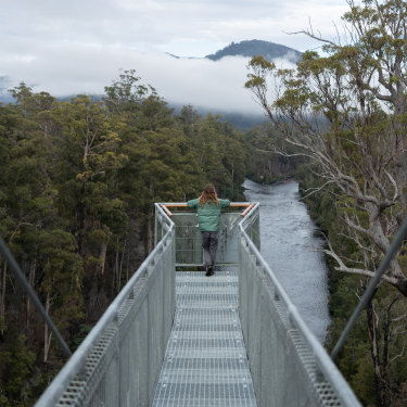 Tasmania's Tahune AirWalk, suspended 30 metres above the forest floor, has views of the Huon and Picton regions.
