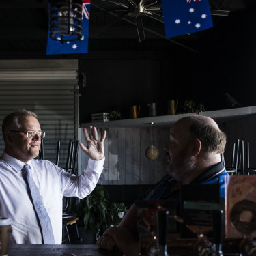The Prime Minister speaks to Paul Metcalfe, the co-owner of the Crow n Arrow hotel in the Brisbane suburb of Lawnton.