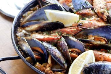 Brigitte Hafner's seafood paella.