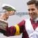 Adma hyeronimus holds up the Vinery Stud Stakes trophy after Shout The Bar's victory