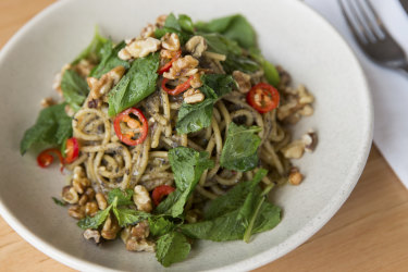 Eggplant spaghetti served at Acre Farm & Eatery in Burwood East.