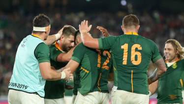 South Africa celebrate their 19-16 win over Wales in the World Cup semi-final.