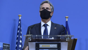 US Secretary of State Antony Blinken speaks during a media conference at NATO headquarters in Brussels on Wednesday.