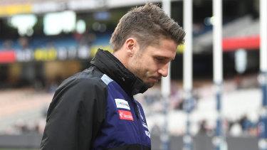 Season over: Luckless Fremantle forward Jesse Hogan.