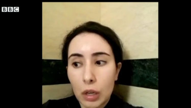 Sheikha Latifa bint Mohammed al-Maktoum in her latest video, aired in February.