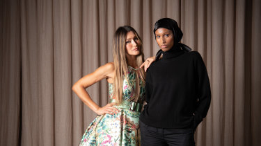 Models Silvan Philippoussis in Jason Grech dress and Hanan Ibrahim in Leophil outfit for the Melbourne Fashion Festival.