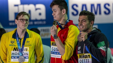 Mack Horton kept his distance from Sun Yang during the medal presentation at the Gwangju 2019 FINA World Championships,