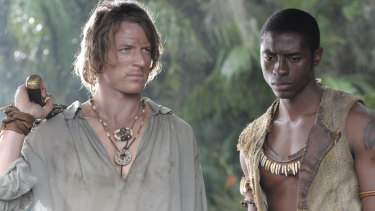 Philip C. Winchester as Crusoe and Tongayi Chirisa as Friday in a television adaptation of Defoe's classic Robinson Crusoe.