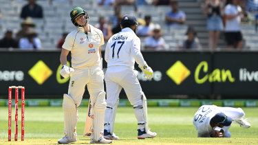 Steve Smith departs for a duck in the first innings of the Boxing Day Test.