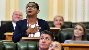 The Member for Cook, Cynthia Lui,  giving her maiden speech at Parliament House in 2018.