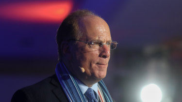 Larry Fink, chief executive officer of BlackRock Inc., speaks during a Bloomberg event on the opening day of the World Economic Forum in Davos, Switzerland, last year.