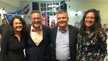 Federal Labor candidate Libby Coker (left), Lara MP John Eren, new Labor MP for South Barwon Darren Cheeseman, and Geelong Labor MP Christine Couzens on Saturday night.