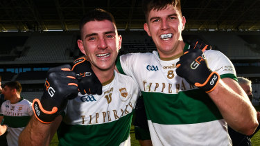 Colin O'Riordan and Steven O'Brien of Tipperary celebrate after their win in the GAA final over Cork.