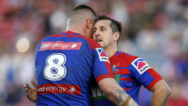 David Klemmer (left) and Mitchell Pearce after Newcastle's important win.